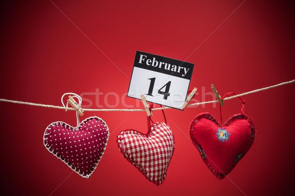 14 valentijnsdag Rood hart kalender papier Stockfoto © IvicaNS