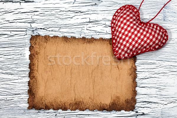 Kleurrijk Rood hart vintage papier exemplaar ruimte Stockfoto © IvicaNS