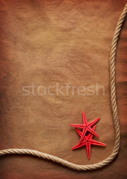 Oud papier touw zeester schip retro Stockfoto © IvicaNS