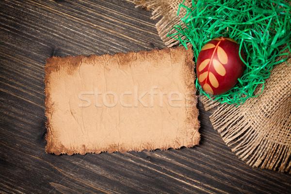 Rood easter egg oude vintage papier kaart Stockfoto © IvicaNS