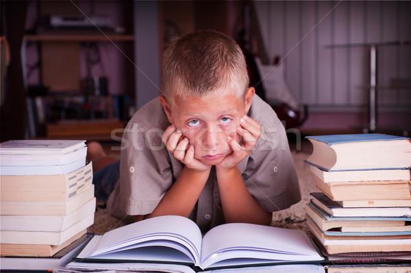 мальчика чтение книга десять год старые Сток-фото © IvicaNS