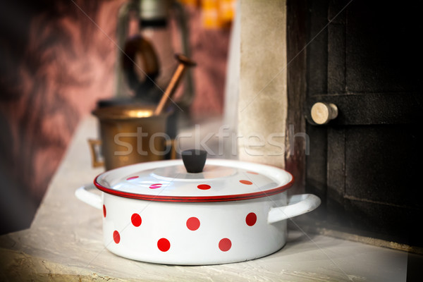 Vintage white cooking pot Stock photo © IvicaNS