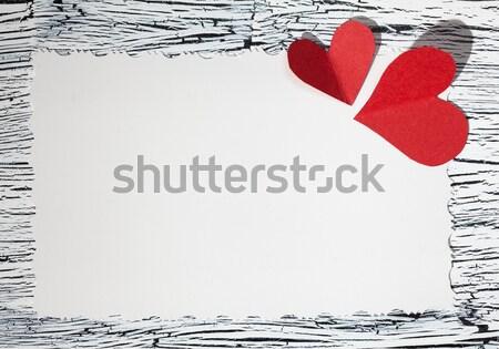 Színes piros szív klasszikus fehér papír Stock fotó © IvicaNS