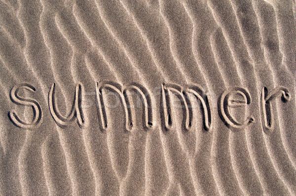 Verão palavra escrito areia fundo oceano Foto stock © IvicaNS