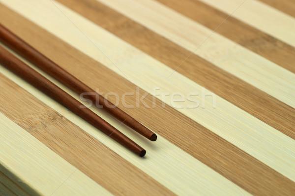 Dois bambu tabela vermelho garfo Foto stock © IvicaNS