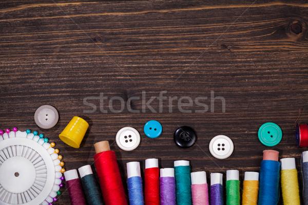Klasszikus szett olló gombok fonál tűk Stock fotó © IvicaNS