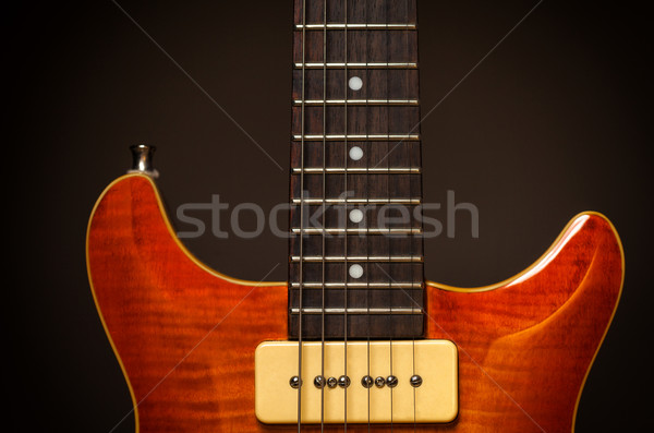 Klasszikus elektromos gitár részlet kép klasszikus fa Stock fotó © IvicaNS
