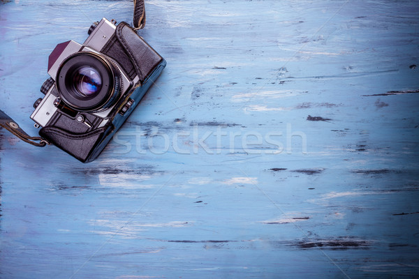 öreg retro kamera fa asztal klasszikus textúra Stock fotó © IvicaNS