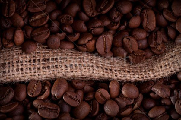 Grãos de café pano de saco saco grão de café cozinha Foto stock © IvicaNS