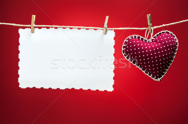 Stock fotó: Színes · szövet · szívek · piros · hátterek · fehér