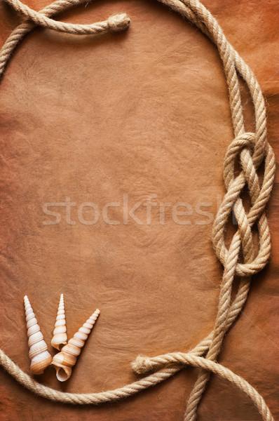 Oud papier touw textuur schip Stockfoto © IvicaNS
