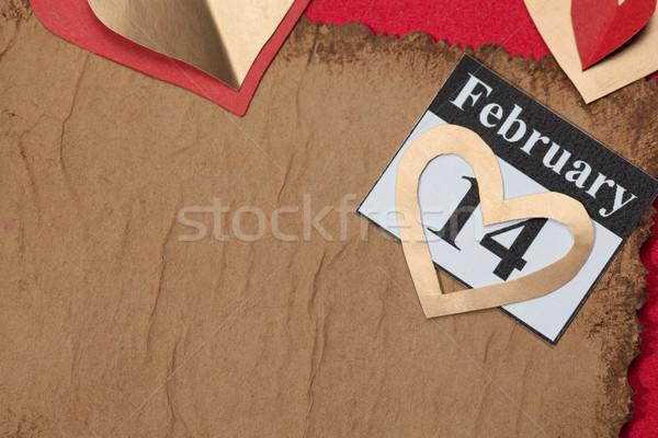 14 valentijnsdag hart Rood papier kalender Stockfoto © IvicaNS