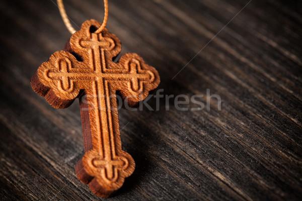 Christian legno cross primo piano foto piccolo Foto d'archivio © IvicaNS