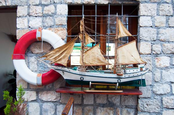 Model zeilschip vol zee oceaan speelgoed Stockfoto © IvicaNS