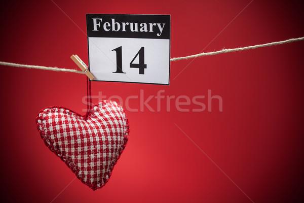 14 valentin nap piros szív naptár papír Stock fotó © IvicaNS
