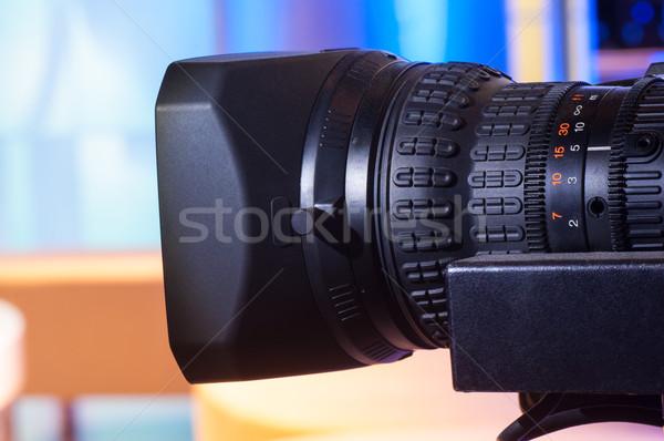 Videocamera lens hd professionele opening schaal Stockfoto © IvicaNS