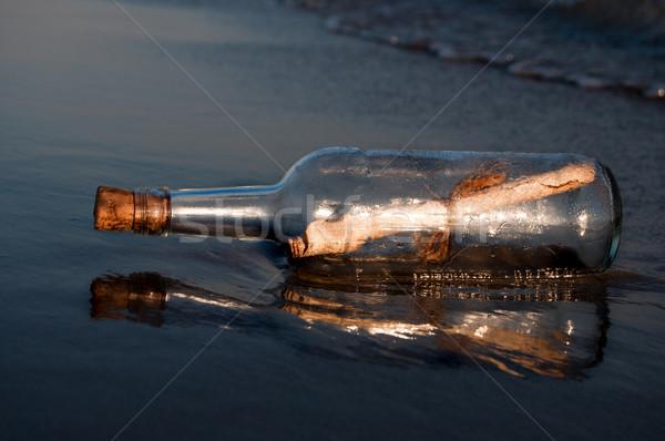 Nachricht Flasche Wüste Ozean blau Schiff Stock foto © IvicaNS