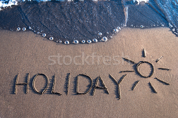 Vacances sable vague plage eau dim. Photo stock © IvicaNS