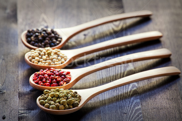 Mixed peppercorns in a wooden spoon Stock photo © IvicaNS