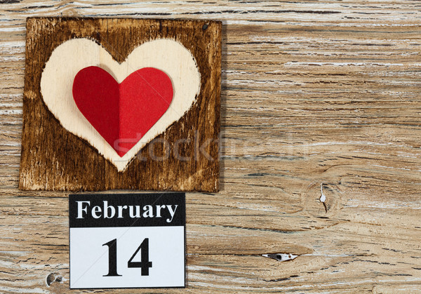 February 14, Valentine's day, heart from red paper Stock photo © IvicaNS