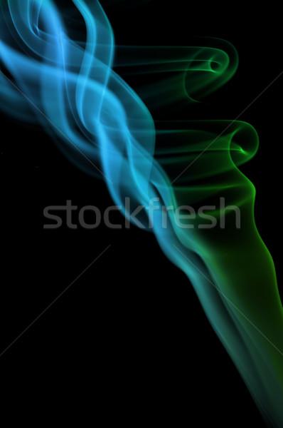 Kék zöld füst fekete víz absztrakt Stock fotó © IvicaNS