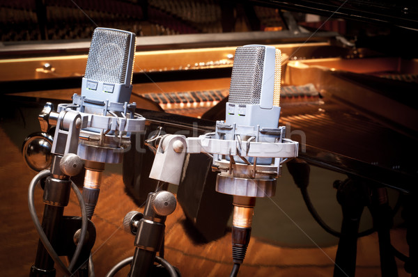 Iki stüdyo mikrofon durmak piyano arka plan Stok fotoğraf © IvicaNS