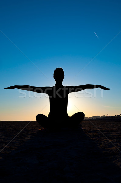 woman in yoga position Stock photo © IvicaNS