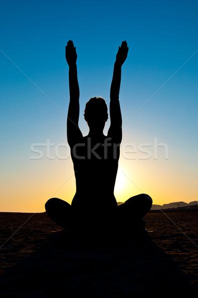 Kadın yoga pozisyon siluet lotus meditasyon Stok fotoğraf © IvicaNS