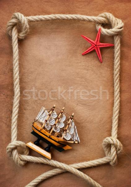 Oud papier touw schip textuur retro Stockfoto © IvicaNS
