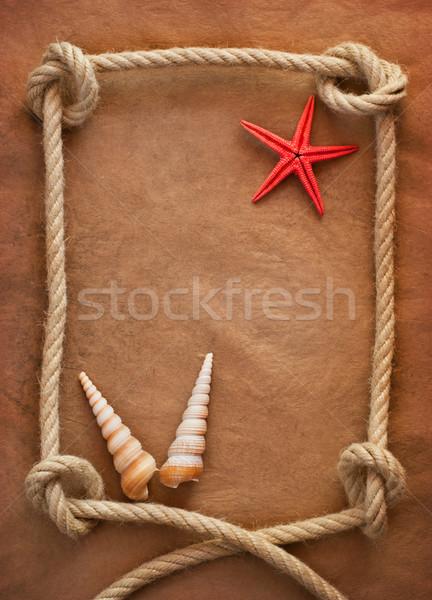Oud papier touw schip retro Stockfoto © IvicaNS