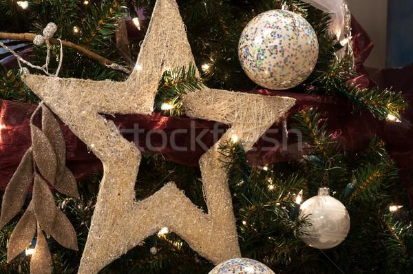 Natal estrela bola decoração ramo árvore de natal Foto stock © IvicaNS