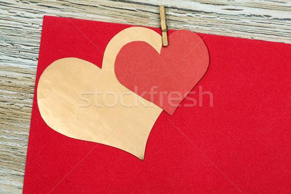 Színes piros arany papír szív klasszikus Stock fotó © IvicaNS