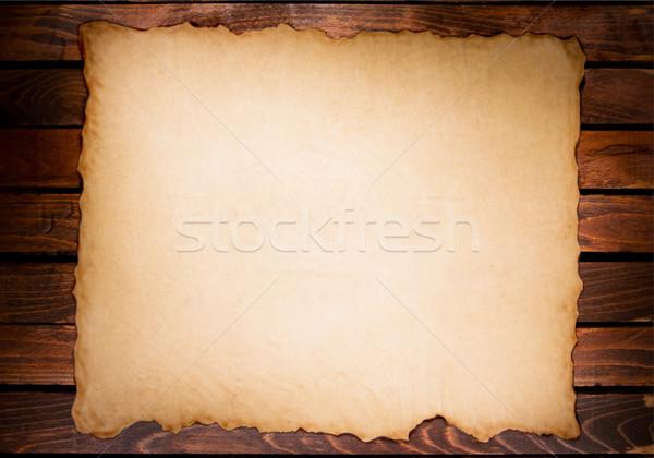 Eski kağıt bağbozumu ahşap masa arka plan çerçeve Stok fotoğraf © IvicaNS