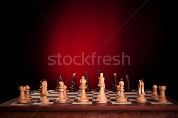 Satranç tahtası parçalar ahşap tablo savaş güç Stok fotoğraf © IvicaNS