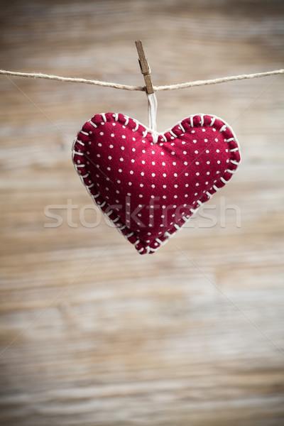 Színes szövet szívek fa hátterek valentin nap Stock fotó © IvicaNS
