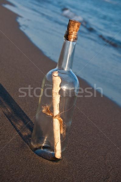 Bericht fles woestijn oceaan Blauw schip Stockfoto © IvicaNS