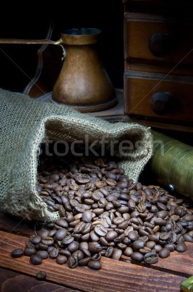 Koffiebonen vintage koffie hout Stockfoto © IvicaNS
