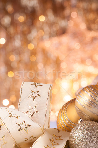 Goud christmas gouden lichten bal kleur Stockfoto © IvicaNS