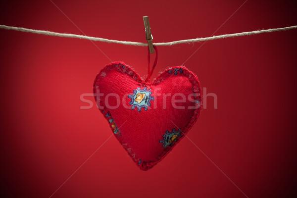 Kleurrijk weefsel harten Rood achtergronden valentijnsdag Stockfoto © IvicaNS