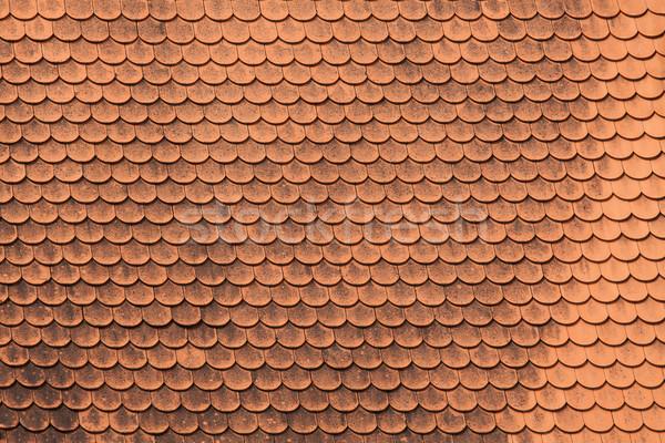 Vermelho azulejos telhado textura pormenor casa Foto stock © IvicaNS
