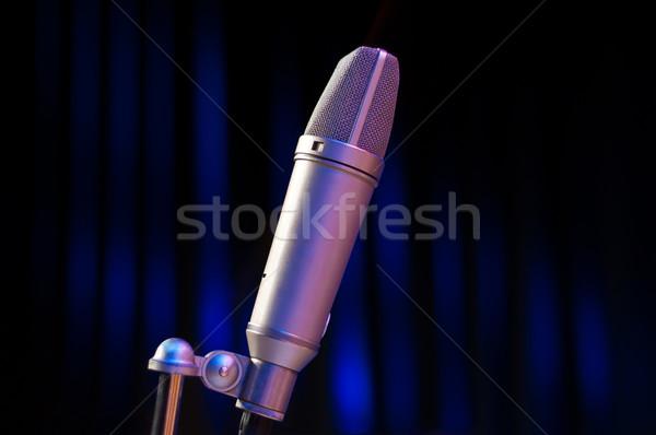 Microfoon fase Blauw zwarte partij technologie Stockfoto © IvicaNS