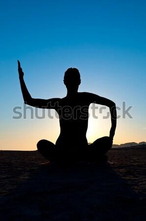 Mulher ioga lótus posição silhueta meditação Foto stock © IvicaNS