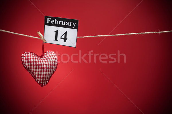 February 14, Valentine's day, red heart Stock photo © IvicaNS