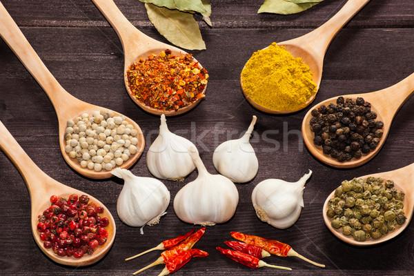 Stockfoto: Exotisch · specerijen · lepels · houten · plaat