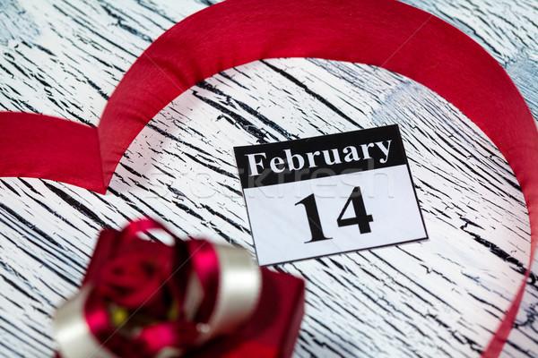 14 valentin nap szív vörös szalag naptár papír Stock fotó © IvicaNS