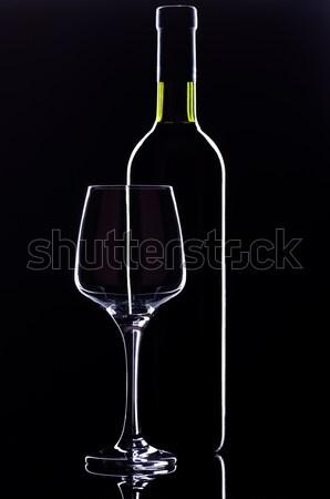 Wijnglas fles glas wijn wijnfles donkere Stockfoto © IvicaNS