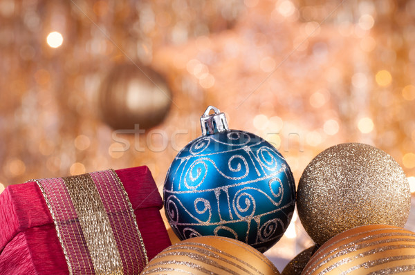 Altın mavi Noel kırmızı kutu altın Stok fotoğraf © IvicaNS