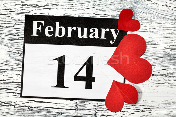 14 valentin nap szív piros papír naptár Stock fotó © IvicaNS