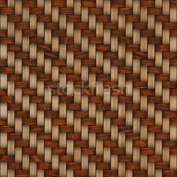 Stock photo: Wooden weave texture background. Abstract decorative wooden textured basket weaving background. Seam