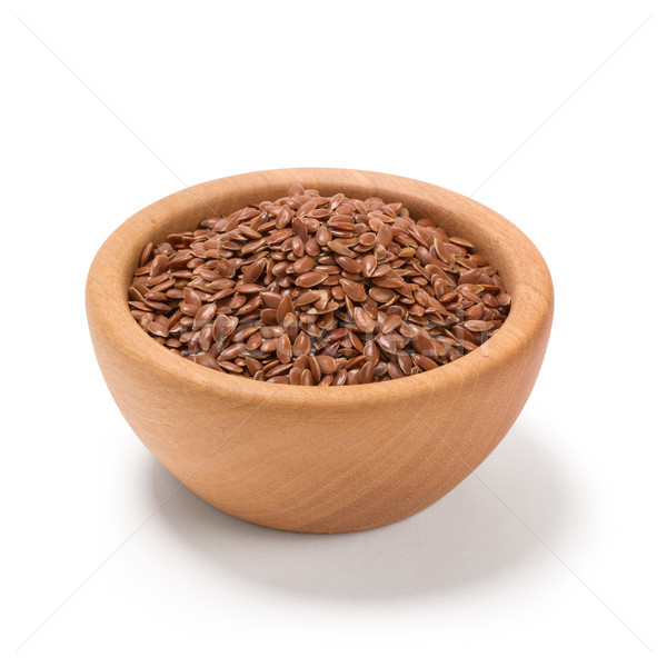 Flax seeds, Linseed, Lin seeds close-up brown flax seed or linseed in a wooden bowl, isolated on whi Stock photo © ivo_13